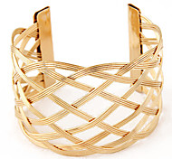 European Fashion Wild Hollow Metal Braid Wide Cuff Bracelets