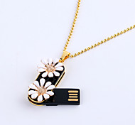 64GB Necklace Daisy Jewelry USB 2.0 Rotatable Flash Memory Stick Drive U Disk ZP-02