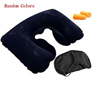 Travel Inflated Mat / Travel Sleeping Mask / Travel Pillow / Travel Ear Plugs Travel Rest Rubber / Fabric Black / Yellow