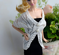 Barbie Doll White / Black Casual Woolen More Accessories Skirts / Tops