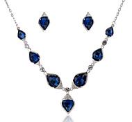 Women's Blue Gem Zircon Necklace&Earrngs Fine Jewelry Set for Wedding Party