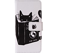 Cat Reading Painted PU Phone Case for iphone5SE