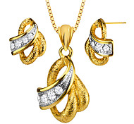 Trendy Simulated Diamond Women Necklace Earrings 18K Gold Plated Scrub Jewelry Set Party Gift Wholesale S20168