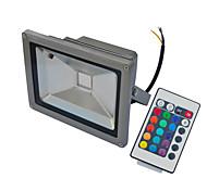 schwarz wasserdicht 20w kalt / warmes Weiß RGB-Licht mit Fernbedienung LED Flut-Lampe + Stecker (AC85V-265V)