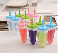 Plastic  6 Cells Coner Shape  Ice Cream Tray Cube Mould Mold with Stick