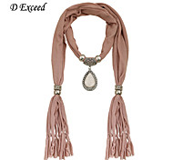 D Exceed Newest Brown Polyester Winter Jewelry Scarves With Vintage Water Drop Pendant Scarf Necklaces For Women Gift