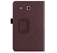 For Samsung Galaxy Case Card Holder / with Stand / Flip Case Full Body Case Solid Color PU Leather Samsung Tab E 9.6