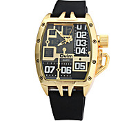 Men's Rectangle Fashion Design Rubber Band Quartz Watch