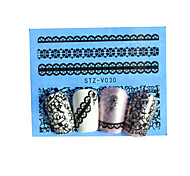 10pcs Black New Nails Art  Water Transfer Sticker  Manicure Nail Art Tips  STZV021-030