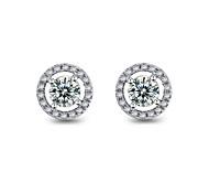 Stud Earrings Crystal Cubic Zirconia Simulated Diamond Alloy Classic Jewelry 2pcs