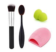 escova de maquiagem + escova fundação + sopro fundação + limpeza ovo