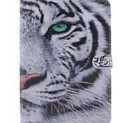 weißer Tiger-Entwurf PU-Leder Ganzkörper-Fall mit Ständer und Kartensteckplatz für ipad Pro 9.7 / ipad Luft 3 / ipad mini pro