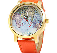 Women's Map Design PU Band Quartz Wristwatch