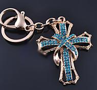 Fashion Zircon Diamond Cross Key Chain Ring Keyring (Random Color)