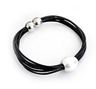 Ketten- & Glieder-Armbänder / Strang-Armbänder / Vintage Armbänder / Gothic Schmuck 1 Stück,Weiß Armbänder Perle / Leder / versilbert