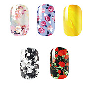 5Pcs/Set Fashion Charming Flower Black Beauty Girl Nail Art Nail Stickers Nail Tools Gel Decals Makeup