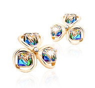 18K Gold Rainbow Zircon Clover Flower Security Quality Stud Earrings Jewelry for Wedding Party