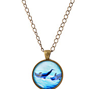 Lureme® Time Gem Series Ocean Dolphin Disc Charm Necklace for Women and Girl