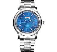 Les modèles d'explosion de montres de mode pour hommes à double diamant quartz en acier suivre la semaine civile imperméable à l'eau