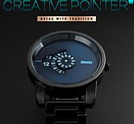 Men Fashion Creative Pointer Rotary Dial Stainless Steel Quartz Watch