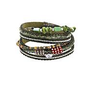 Fashion Trendy 3 Rows Chain/Natural Stone/ Beads Bracelet Leather Wrap Bracelet