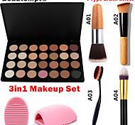 3in1 Makeup Set(28 Colors Bronzer/Foundation/Blush/Primer Professional Cosmetic Palette+1 Bronzer Brush+1 Brush Egg)