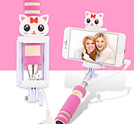 Cartoon Mini Extendable Handled Stick with A Built-in Remote Shutter Designed for Apple, Android Smartphones