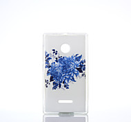 Blue Chrysanthemum Pattern TPU+IMD Soft Case for Nokia Lumia N640/N535/N435