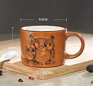 peints à la main tasse en céramique grande personnalité tasses de café rétro restaurant de tasse de thé 300 ml