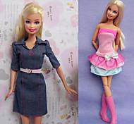 Barbie Doll-Abiti-Informale- diTela / Satin elasticizzato-Multicolore-Abiti