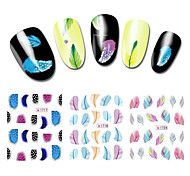 Colorful Creative Feather Water Transfer Nail Decals,10sheets Fashion Designs Nail Tips Art DIY Nail Sticker Decorations