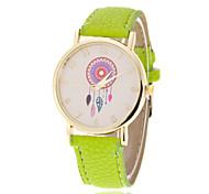 Women's Fashion Watch Quartz PU Band Sparkle Flower Orange Green