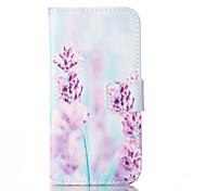flor roxa padrão de capa de couro pu com slot para cartão e ficar para iPhone 6 6s / iphone
