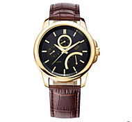 Men's Black Case Brown Leather Band Wrist Dress Watch Wrist Watch Cool Watch Unique Watch