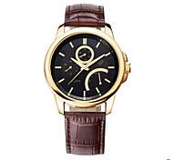 Men's Black Case Brown Leather Band Wrist Dress Watch Wrist Watch Cool Watch Unique Watch