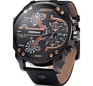 Men's Military Fashion Big Dial Dual Time Zones Leather Band Quartz Watch Cool Watch Unique Watch