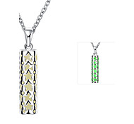 Individual Luminouss Cylinder Combine with Star Zinc Alloy Silver Plated Pendant Necklace(Green,Blue, Purple)(1PC)