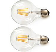 2pcs Kakanuo E26/E27 6W 6pcs Filament COB 540lm Ultra Warm White G80 Edison Vintage LED Filament Bulbs AC85-265V