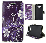 For Samsung Galaxy Case Card Holder / Wallet / with Stand / Flip Case Full Body Case Flower PU Leather SamsungTrend Duos / J5 / J1 /
