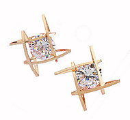 Gold Square Crystal Zircon Stud Earrings Jewelry for Wedding Party(2.2*2.2)