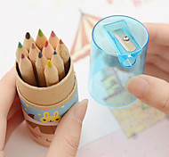 12 Color Cartridges Color Cartoon Pencil With Sharpener