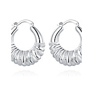 lureme®Fashion Style Silver Plated Twisted Shaped Hoop Earrings