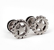 Punk Star Turbine Stainless Steel Screwback Earrings