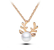 European Style Fashion Elegant Shiny Rhinestone Pearl Antlers Necklace