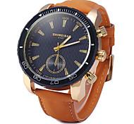 Men's Military Fashion Brown Leather Band Quartz Watch Wrist Watch Cool Watch Unique Watch
