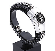 Wide Weave Chrome Heart Men's Heavy Band Stainless Steel Bracelets 1pc