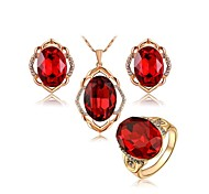 T&C Women's Bridal Ruby Jewelry Set 18K RGP Big Red Ellipse Crystal Flower Pendant Necklace and Ring and Stud Earrings