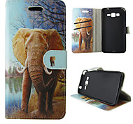 For Samsung Galaxy Case Card Holder / Wallet / with Stand / Flip Case Full Body Case Elephant PU Leather SamsungTrend Duos / J5 / J1 /