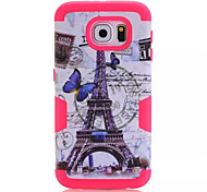 Eiffel Tower design & Silicone & Plastic Case For Samsung Galaxy  S6  Cell Phone Cover