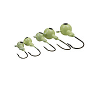 10PCS/Luminous  Jig Hook Fishing Metal Lead Head Hook 10g